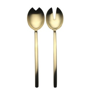 Stainless Steel w/PVD Titanium Coating Due Ice Oro Salad Servers (Fork and Spoon)