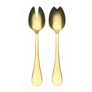 Stainless Steel w/PVD Titanium Coating Vintage Oro Salad Servers (Fork and Spoon)