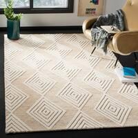 Safavieh Handmade Blossom Modern & Contemporary Beige / Ivory Wool Rug - 5' x 8'