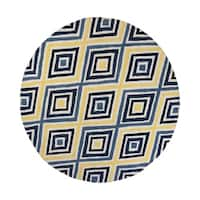 Donny Osmond Home Escape Ivory/Blue Dimensions Round Rug - 7'6