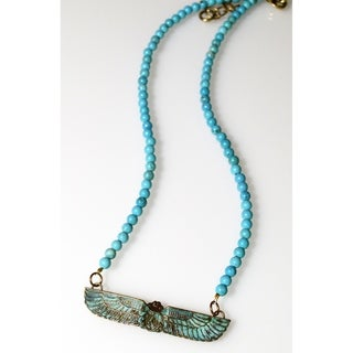 Link to Handmade Patina Egyptian Motif Scarab Necklace - Turquoise (USA) Similar Items in Bracelets