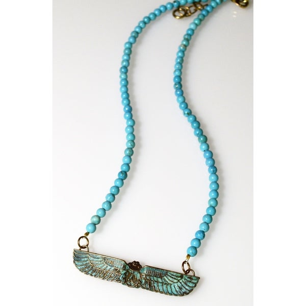 Handmade Patina Egyptian Motif Scarab Necklace - Turquoise (USA). Opens flyout.
