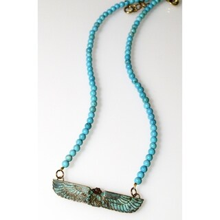 Handmade Patina Egyptian Motif Scarab Necklace - Turquoise (USA)