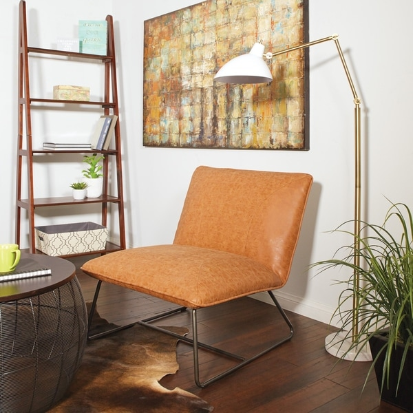 Strick & Bolton Snoh Faux-leather Chair with Gunmetal Frame. Opens flyout.