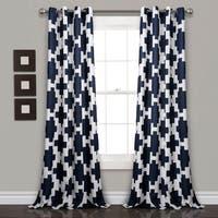 Lush Decor Wellow Ikat Room Darkening Window Curtain Panel Pair - 52x84