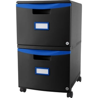 Storex 2-Drawer Filing Cabinet, Letter/Legal Size, Black/Blue
