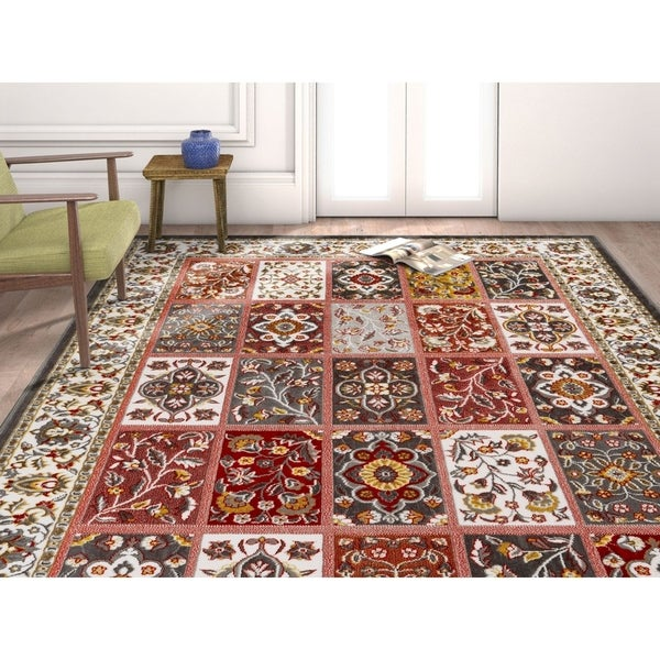 """Well Woven Traditional Vintage Tile Work Multi Grey Area Rug - 7'10"""" x 9'10"""""""