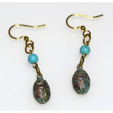 Handmade Patina Egyptian Motif Scarab Earrings