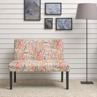 Handy Living Nate Multi Coral Paisley Armless Settee