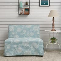 Handy Living Nate Nate Armless Settee with Skirted Slipcover in Blue Floral