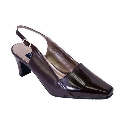 PEERAGE Meredith Women Extra Wide Width Square Toe Slingback Heels