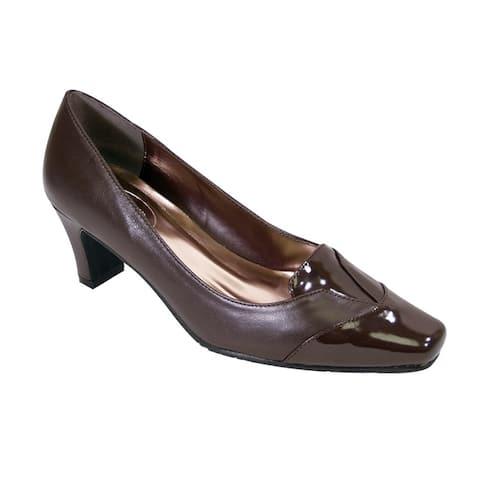PEERAGE Shannon Women Extra Wide Width Closed Toe Mid Heel Pumps