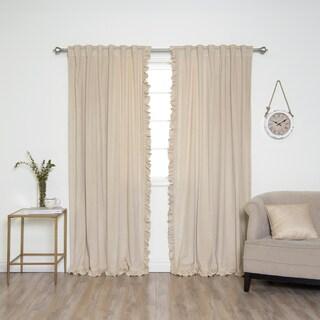 Aurora Home Velvet Border Ruffle Curtain Panel Pair