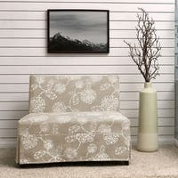 Handy Living Nate Armless Settee with Skirted Slipcover in Taupe Floral