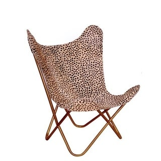 Cheetah Print Leather Hide Butterfly Chair