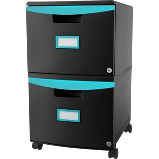 Storex 2-Drawer Filing Cabinet, Letter/Legal size, Black/Teal