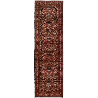 ECARPETGALLERY Hand-knotted Lilihan Dark Navy, Red Wool Rug - 2'7 x 9'0