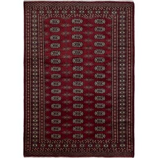 eCarpetGallery Hand-knotted Peshawar Bokhara Dark Red Wool Rug - 4'0 x 5'9