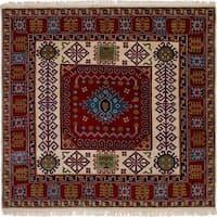 eCarpetGallery  Hand-knotted Finest Kazak Red Wool Rug - 6'5 x 6'4