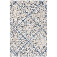 Safavieh Handmade Blossom Modern & Contemporary Blue / Ivory Wool Rug - 4' x 6'