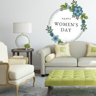 """Flowers Woman Day March Full Color Wall Decal Sticker K-1279 FRST Size 40""""x40"""""""