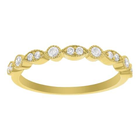 14K Yellow Gold 1/5ct TDW Diamond Art Deco Anniversary Band by Beverly Hills Charm