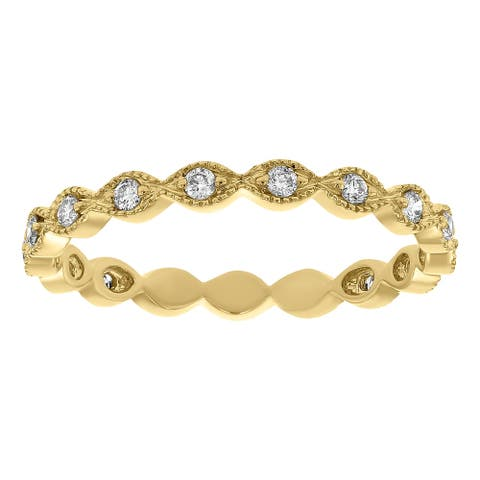 14K Yellow Gold 1/4ct TDW Diamond Vintage Eternity Band Ring by Beverly Hills Charm