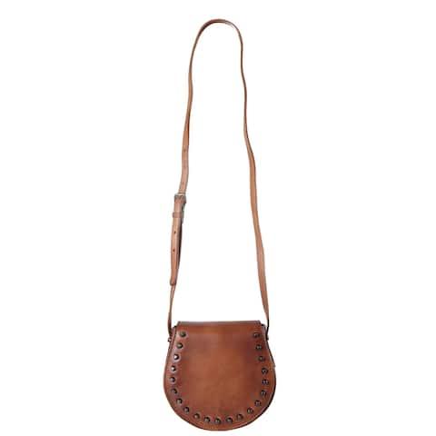 Diophy Genuine Leather Small Saddle Cross Body Handbag