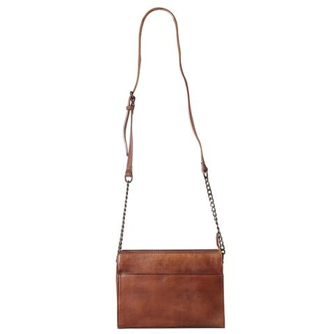 Diophy Genuine Leather Small Half Chain Cross Body Handbag