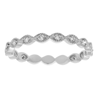 14K White Gold 1/4ct TDW Diamond Vintage Inspired Eternity Wedding Band Ring (SI2-I1, H-I)