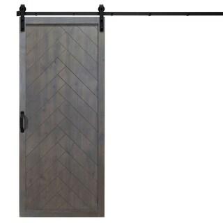 "Herringbone Sliding Barn Door With Hardware (36"" x 84"") (Option: ASH GRAY)"
