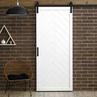 Shop Herringbone Sliding Barn Door With Hardware 36 X 84 Free