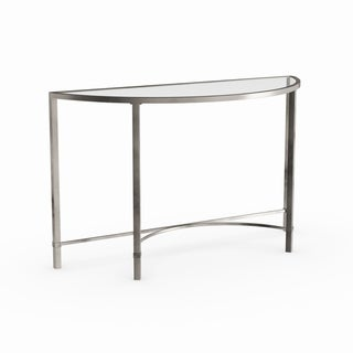 Strick & Bolton Lockwood Silvertone Demilune Console Table
