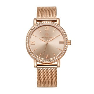 Women's 'Indio' Minimalist Crystal Accented Stainless Steel Mesh Bracelet Watch by Timothy Stone