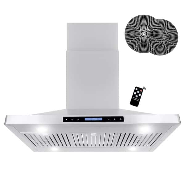 36 In Ductless Island Mount Range Hood Stainless