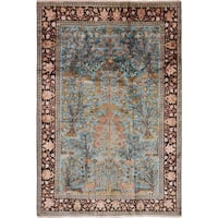 eCarpetGallery  Hand-knotted Kashmir Light Blue  Silk Rug - 4'2 x 6'1
