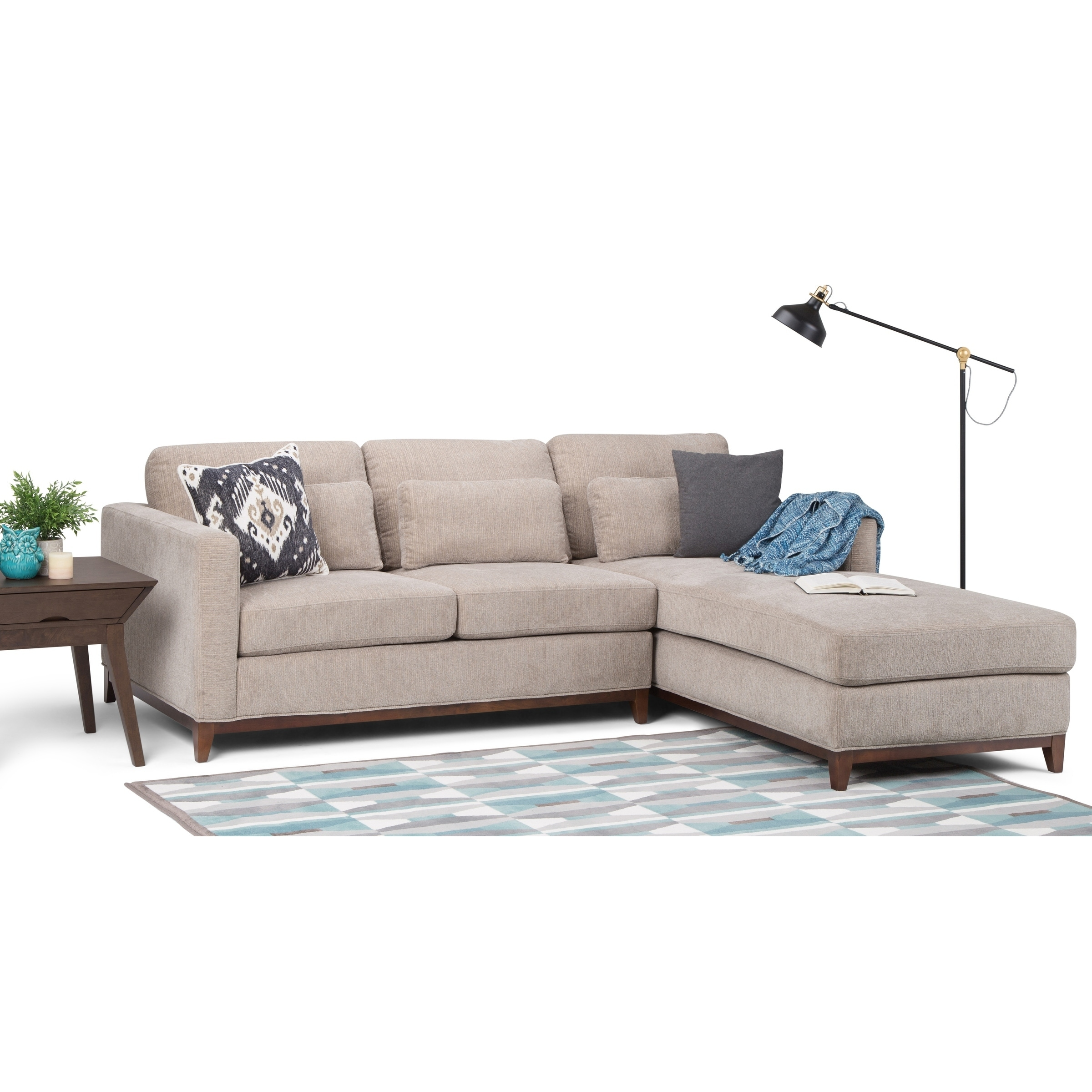 Wyndenhall Arden Contemporary 97 Inch Wide Sectional In Fog Grey Chenille Look Fabric