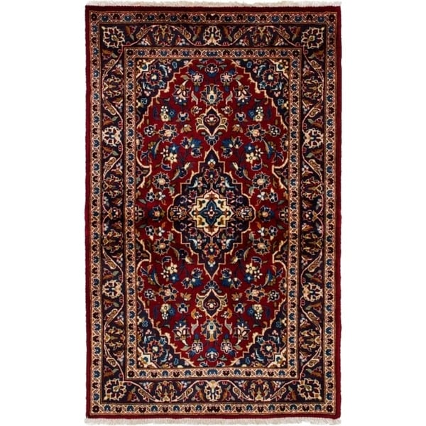 Shop Ecarpetgallery Hand Knotted Persian Kashan Red Wool: Shop ECarpetGallery Hand-knotted Kashan Dark Red Wool Rug