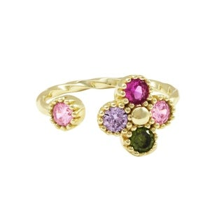 Luxiro Sterling Silver Lab-created Ruby with Multi-color CZ's Kid's Teen's Adjustable Flower Ring