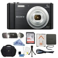 Sony DSC-W800/B 20 MP Digital Camera 5x Optical Zoom (Black) Bundle W/ 64GB SDHC Memory Card, Deluxe Case & Lens Cloth