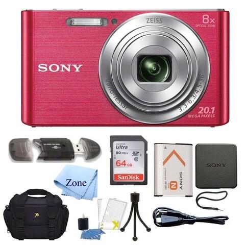 Sony DSC-W830 Cyber-shot 20.1MP Digital Camera + 64GB Memory Card & Accessory Bundle