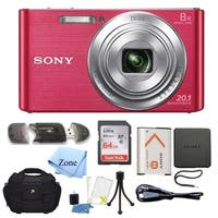 Sony DSC-W830 Cyber-shot 20.1MP Digital Camera + 64GB Memory Card & Accessory Bundle