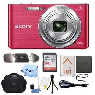 Sony DSC-W830 Cyber-shot 20.1MP Digital Camera + 64GB Memory Card & Accessory Bundle (2 options available)