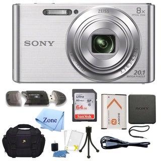 Sony DSC-W830 Cyber-shot 20.1MP Digital Camera + 64GB Memory Card & Accessory Bundle (Option: Silver)