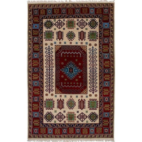 Hand-knotted Finest Kazak Cream, Red Wool Rug