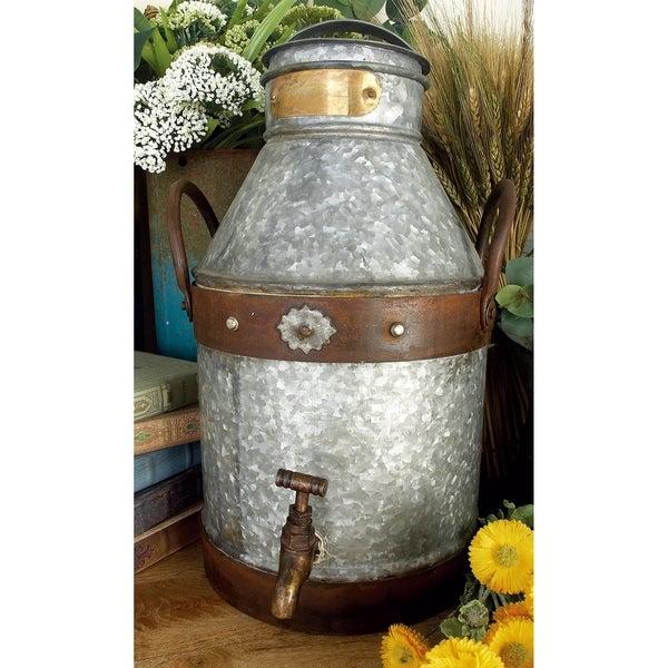 The Gray Barn Jartop Farmhouse Rustic Galvanized Iron Faucet Milk Can