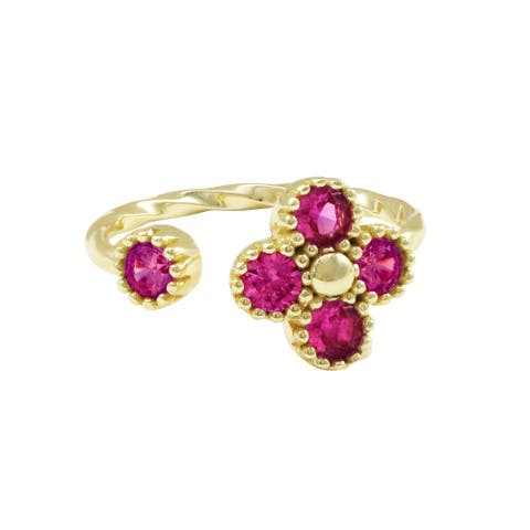 Luxiro Sterling Silver Gold Finish Lab-created Ruby Teen's Kid's Adjustable Flower Ring