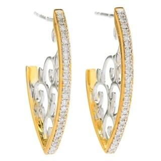 Michael Valitutti Palladium Silver Diamond Marquise Shaped Hoop Earrings