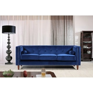 Classic Nailhead Square Arms Crushed velvet Chesterfield Sofa