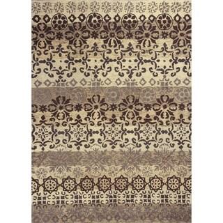 KAS Rugs Marrakesh Damask Handmade Ivory/Slate Wool Rug - 3'3 x 5'3
